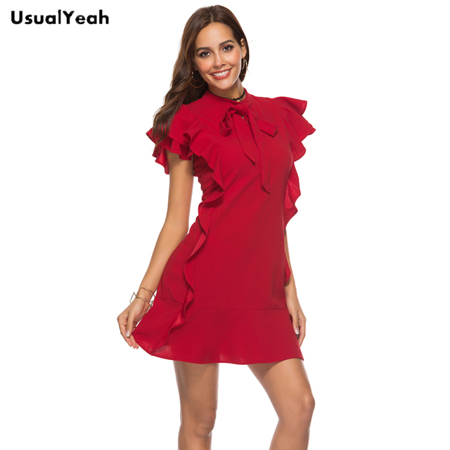 adb2a52dbd7 Women Party Dress Flounce Embellished Tied Neck Dress Red Tie Neck Cap  Sleeve Ruffle Hem Zipper Back Sheath Dress Black