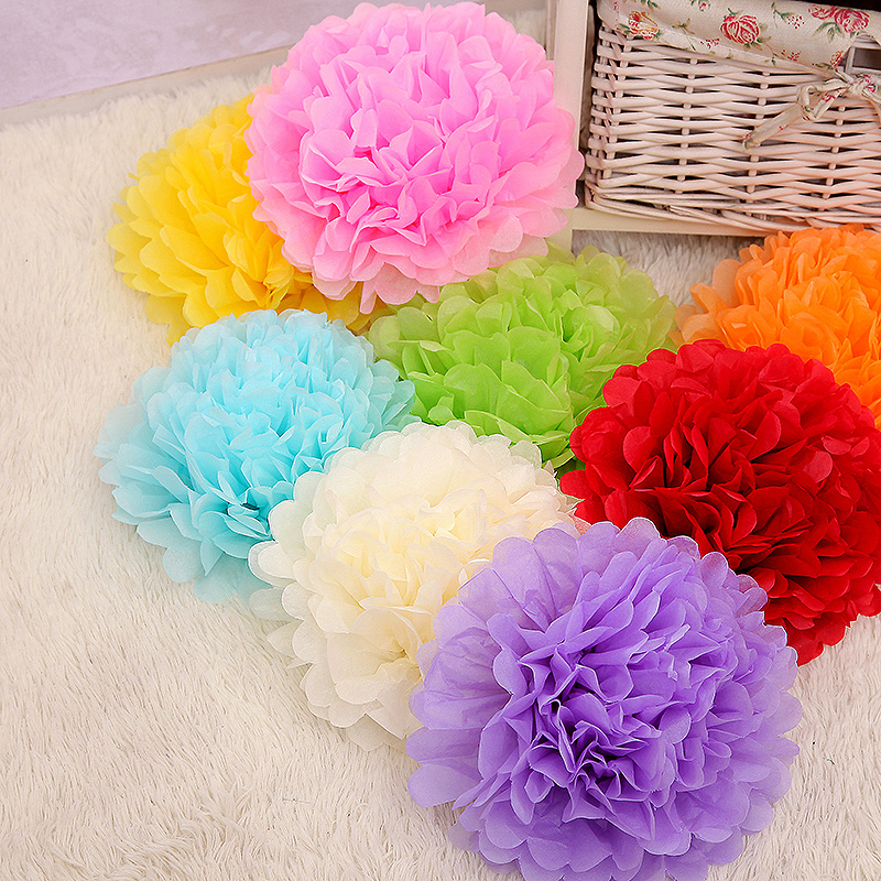 10inches 25cm 15pcs Paper Flowers Diy Tissue Pom Poms 14 Color Wedding New Homes Birthday Party Car Decoration Hot Sale In Artificial Dried