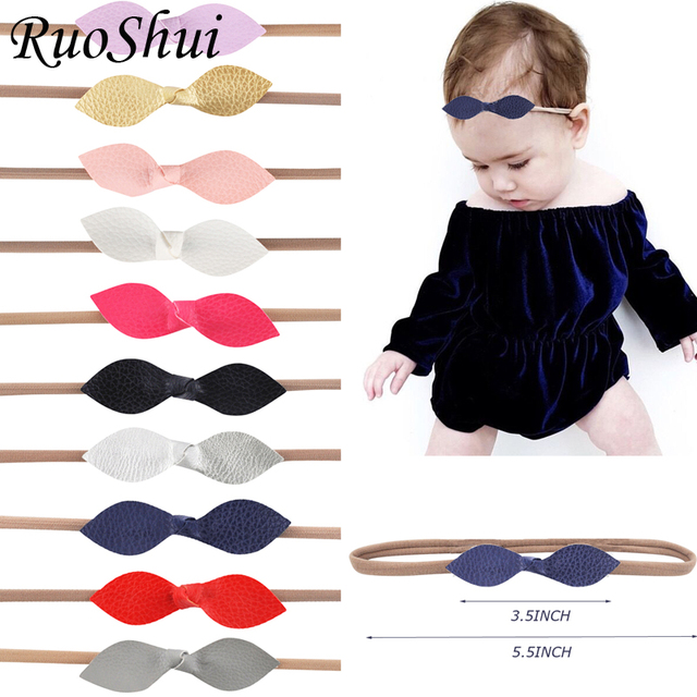 3.5 inch Bows Newborn Nylon Leather Headband Hair Bows Hair Bands Kids Girl Leaves Bowknot Kid Children Girls Hair Accessories