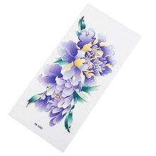 Фиолетовые цветы водостойкие наклейки для татуировки влагоотводящие прочные дамские очаровательные цветы рука грудь наклейка s вечерние банкетные татуировки стикер