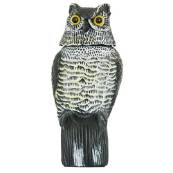 1Pc Large Realistic Simulation Owl Decoy With Rotating Head Bird Pigeon Crow Scarer Scarecrow Car Home Garden Decoration