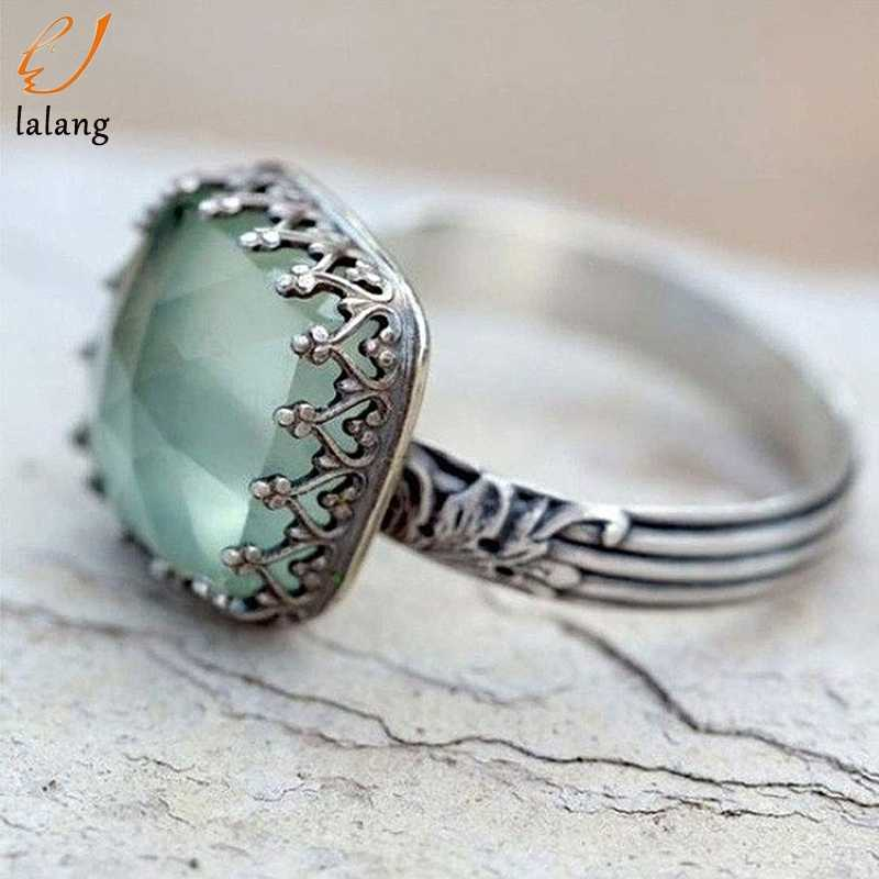 Floral Natural Peridot Antique Ring For Women Engagement Wedding Promise Date Gift Big Square Stone Rings