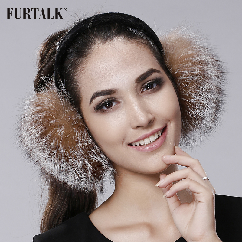 FURTALK Winter Earmuffs Real Fox Fur Earmuffs For Women Warm Girl's Earlap Ultralarge Imitation Ladie's Plush Ear Muff