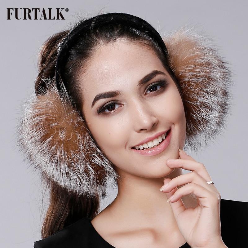 FURTALK Winter Earmuffs Real Fox Fur Earmuffs For Women Warm Girl's Earlap Ultralarge Imitation Ladie's Plush Ear Muff