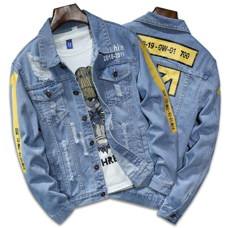 High Quality Denim Jacket Men Ripped Holes Mens Lt Blue Jean Jackets New 2019 Autumn/Winter Garment Washed Mens Denim Coat