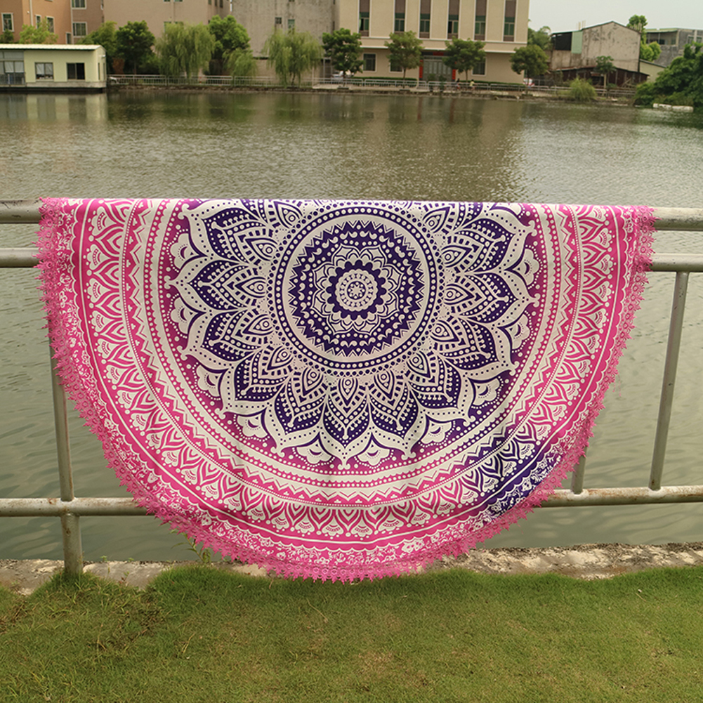 Handmade Summer Beach Towels Floral Printed Lace Tassels Round Blanket Bath Towel Swim Cover-ups High water absorbent Yoga Mat 6