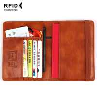 High Quality Anti RFID Blocking Leather Passport Holder Passport Cover Card Case Wallet with Elastic Band Closure