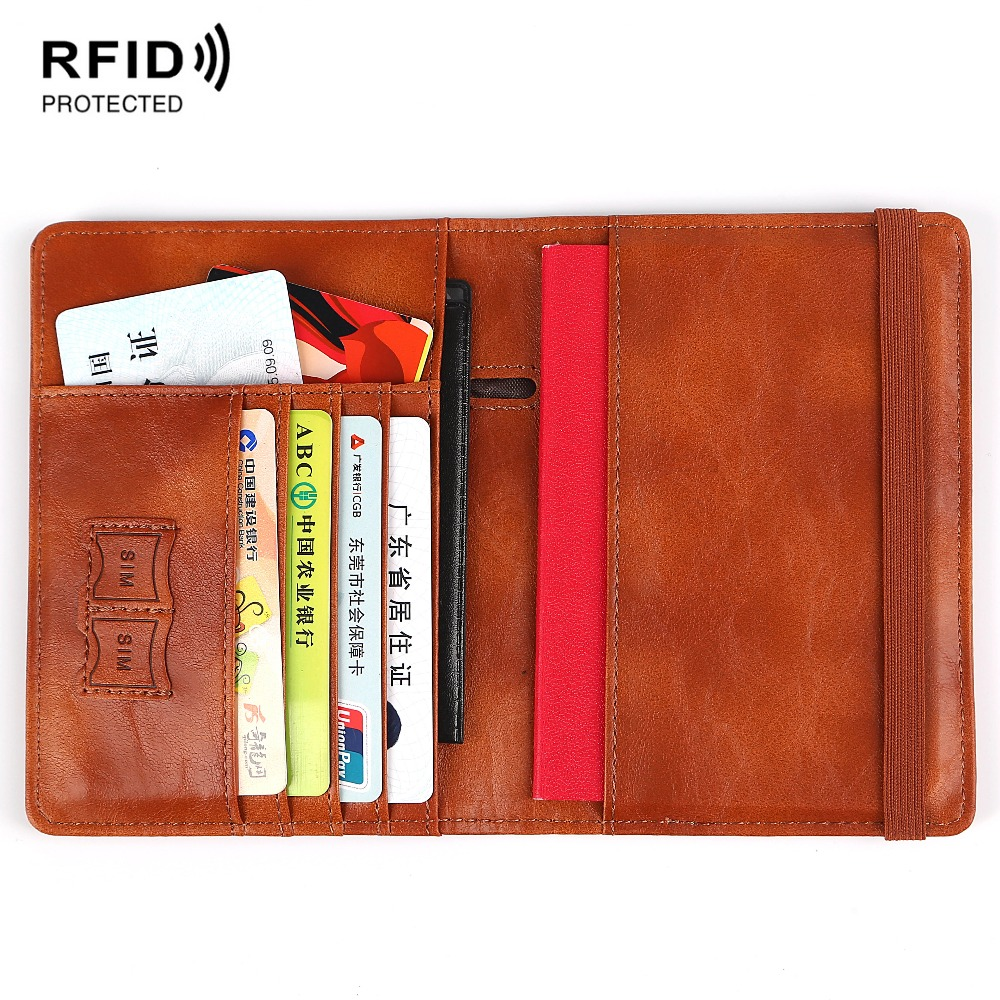 Multifunctional Rfid Blocking Leather <font><b>Passport</b></font> Cover Holder with Card Case image