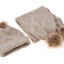 Вязаный шарф, шапка, набор, Осень-зима, с меховым шариком, с ромбовидным узором, шерстяной вязаный шарф, шапка, набор