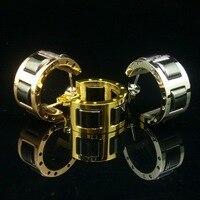 熱い販売ブラック&ホワイトセラミックローズゴールド/イエローゴールド/ホワイトゴールドカラーステンレススチールフープイヤリング