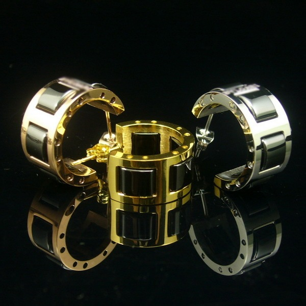 Hot Sale Black & White Ceramic Rose Gold / Yellow Gold / White Gold Plated Stainless Steel Hoop Earrings