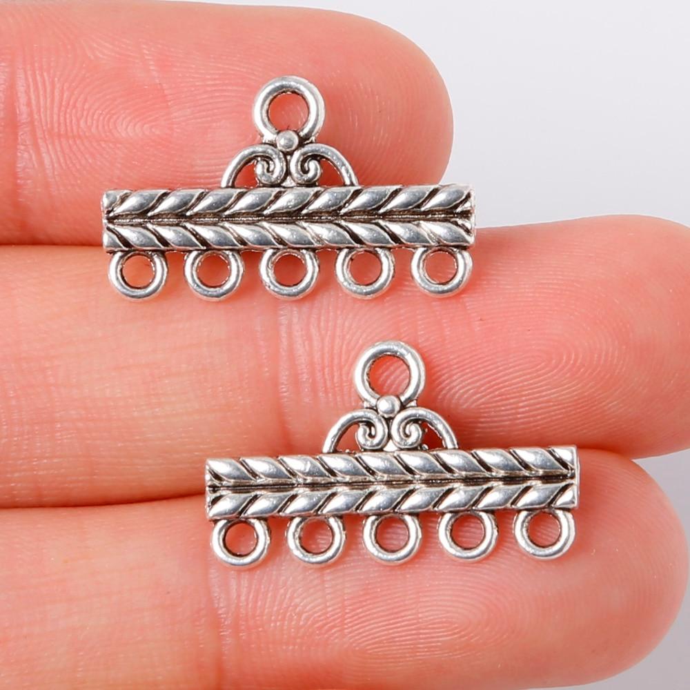 Акция 10 шт. 13×22 мм сплав старинное серебро отверстия связи Талисманы Подвески ювелирных изделий для DIY браслет ожерелье