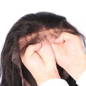 Image 4 - LUFFYHAIR Kinky kıvırcık ipek taban dantel ön peruk orta kısmı 150% yoğunluk brezilyalı Remy saç ipek üst dantel ön İnsan saç peruk