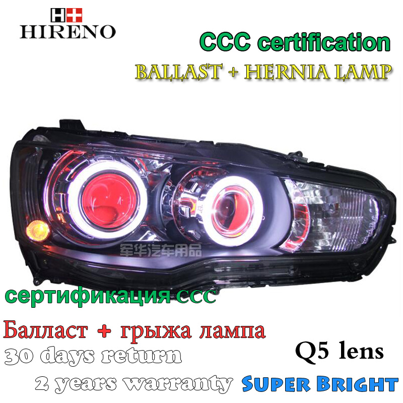 Hireno Modified Headlamp for Mitsubishi Lancer ex 2009-2013 Headlight Assembly Car styling Angel Lens Beam HID Xenon 2 pcs hireno headlamp for 2016 hyundai elantra headlight assembly led drl angel lens double beam hid xenon 2pcs