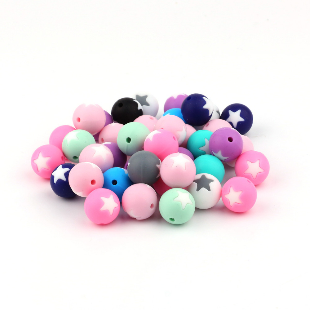TYRY.HU 200Pcs/Lot Star Beads Silicone Teething Beads Baby Teether Pacifier Chain  DIY Necklace  Loose Beads BPA Free