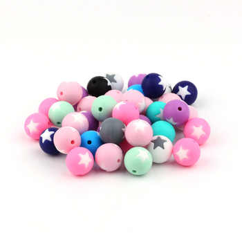 TYRY.HU 200Pcs/Lot Star Beads Silicone Teething Beads Baby Teether Pacifier Chain  DIY Necklace  Loose Beads BPA Free - DISCOUNT ITEM  12% OFF All Category