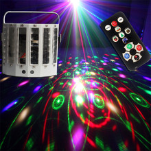 LED Laser Light 9 Color Stage Effect Light Strobe Butterfly DMX DJ Disco KTV Light Rotate Stage Lights Projection Lamp Christmas цена в Москве и Питере