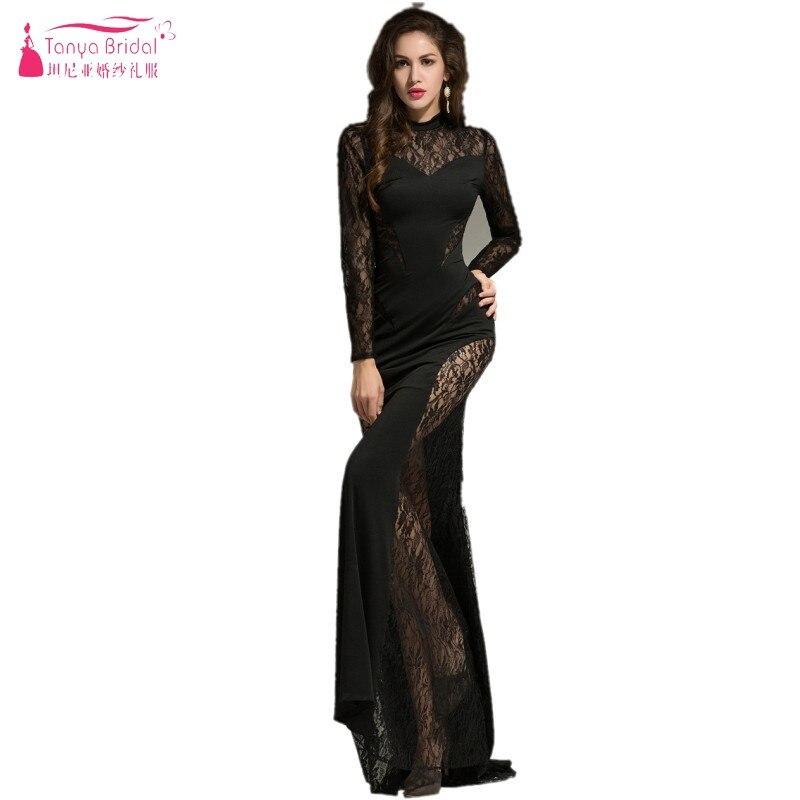 Großhandel high collar long sleeve evening dress black Gallery ...
