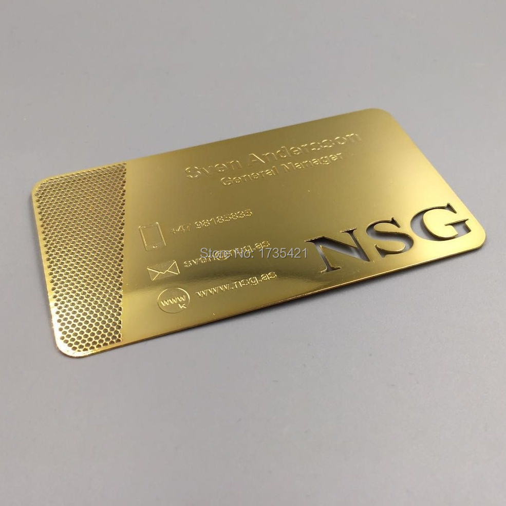 100pcs/lot Engraved Gold Metal Business CEO Cards