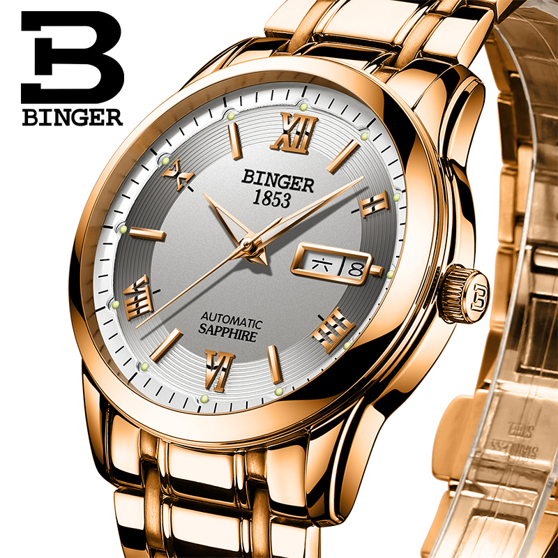 Switzerland watches men luxury brand Wristwatches BINGER luminous Automatic self-wind full stainless steel Waterproof  BG-0383-5 switzerland watches men luxury brand wristwatches binger luminous automatic self wind full stainless steel waterproof bg 0383 3