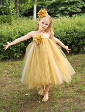 Ball Gown Tulle little girls dress elegant TUTU dress kids girls outdoor casual dress with flower