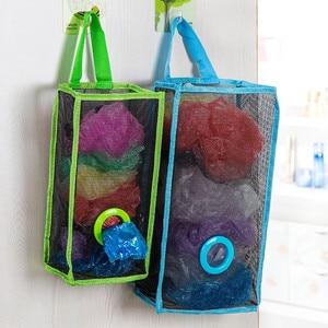 Image 3 - שימושי אופנה תליית לנשימה פלסטיק רשת אשפה תיק גרבי ושונות אחסון מארגני מטבח אחסון חדר אמבטיה.