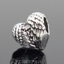 European Silver plated Delicate Angel Wings Heart Charm Beads fit Pandora Bracelets For Women DIY Jewerly