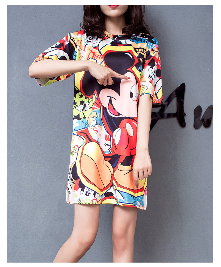 Minnie Mouse Costumes Printing Dot Sleeveless Party Dress Girl Summer cotto Minnie Mouse Bag Hip Dress Cartoon T-shirt dress
