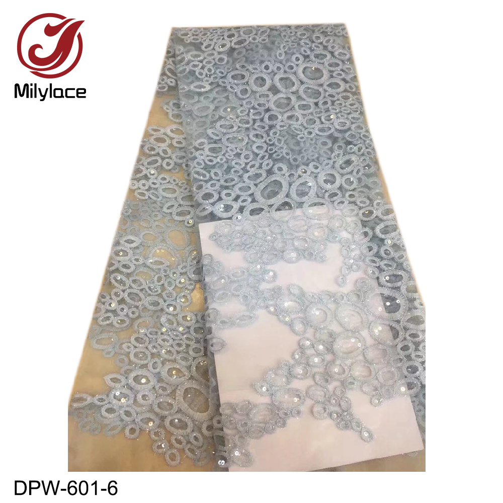 Latest design african french lace fabric 5 yards per lot Nigerian sequins tulle lace fabric for