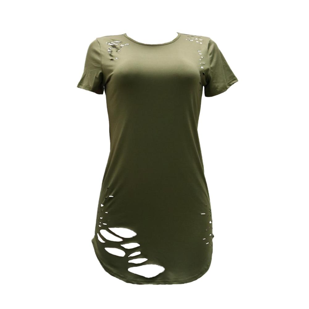 Women Ripped Hole Long T-Shirt Asymmetrical Hem O Neck Short Sleeve T Shirt Female Distressed Destroyed Casual Top Tee Plus Size como rasgar uma camiseta feminina