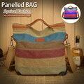 Color de mujeres Messenger Bags ardilla moda panelled patchwork bolsas Bolso de Compras de Asas Casual Bolso de Lona de moda