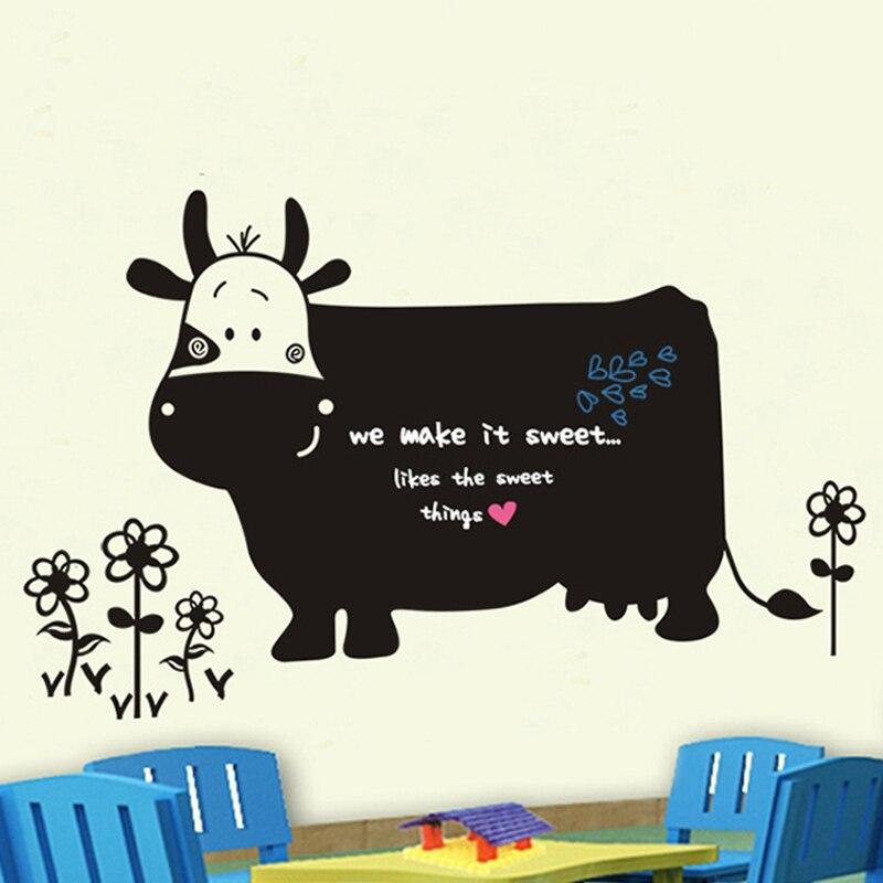3D Wallpaper Creative Cartoon Elephant Love Cow Blackboard Sticker Living Room Bedroom TV Background Boys Girls Room Murals