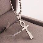 Stainless Steel Egyptian Ankh Cross Mens Womens Pendant Necklace Ankh Neckalce Religious Pendant Necklace