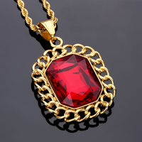 NYUK Pendant Necklace Hip Hop Fashion Luxury Lace Red Gem Statement Necklaces Stainless Steel Gold Twist Chain Men Women Jewelry