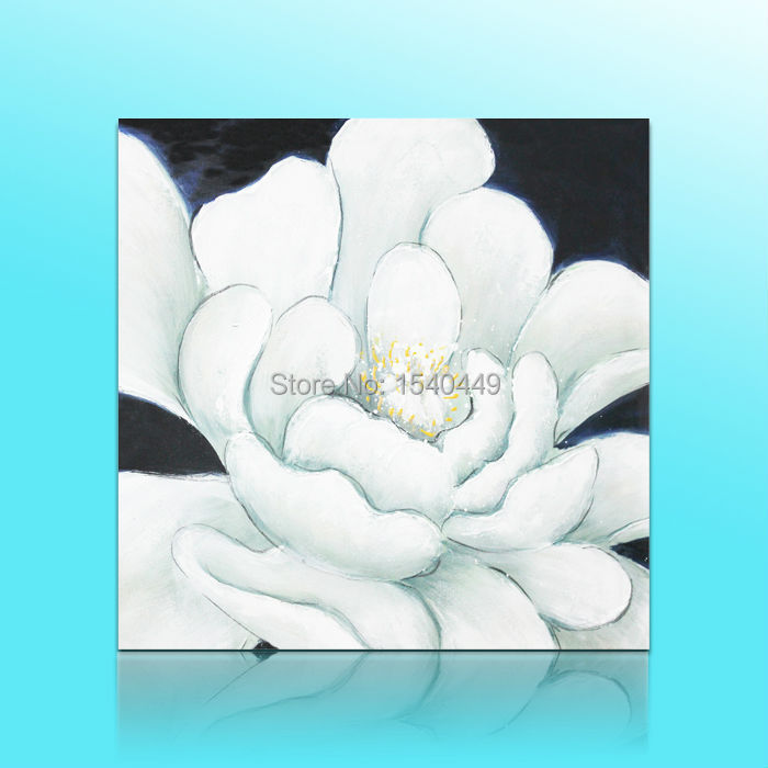 Modern Abstract White Flower Wall Art Oil Painting White Flower 3Pcs 40x40cm