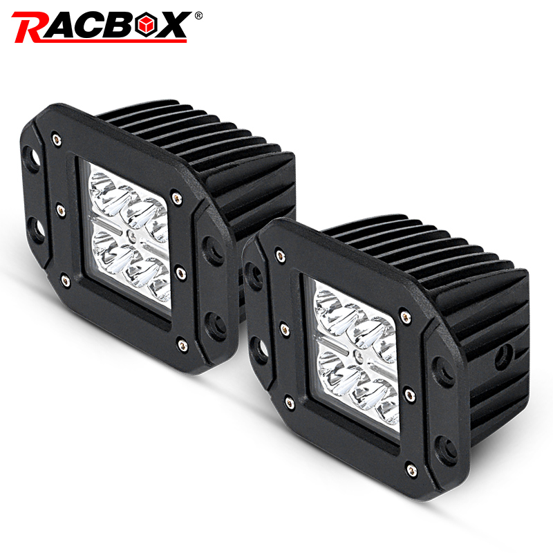 RACBOX 18w Led Work Light Flush Mount Driving Light Offroad Super Lighting Flood Spot Beam For