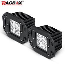 RACBOX 18w Led Work Light Flush Mount Driving Light Offroad Super Lighting Flood Spot Beam For Jeep SUV ATV UTV UAZ Car styling