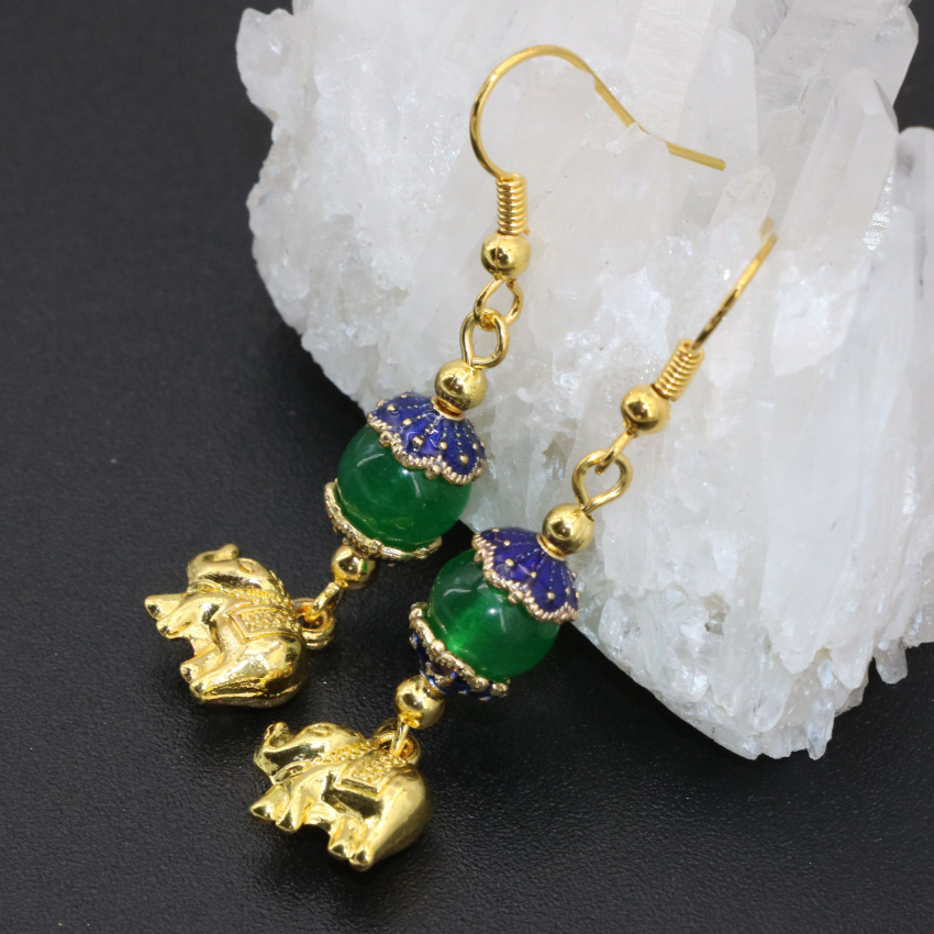 Top quality simple gold plated elephant green jade long dangle earrings fashion drop earrings fine jewelry wholesale price B2620