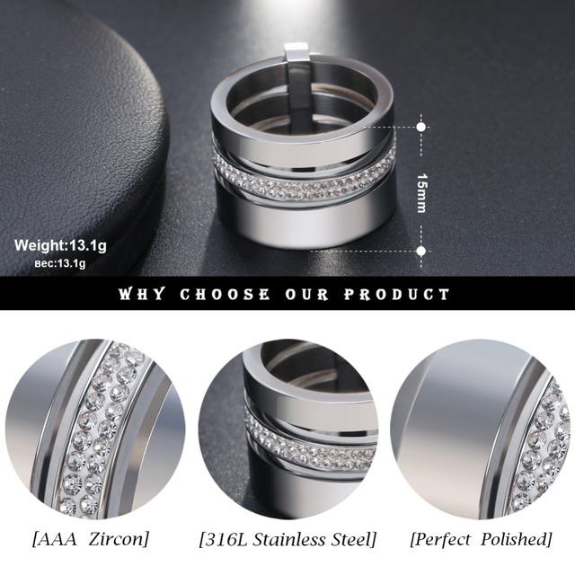 Effie Queen 15mm Big 3 Layers Rings 316L Stainless Steel Zircon Female Ring Wedding Engagement Women Jewelry Fashion Gift IR86