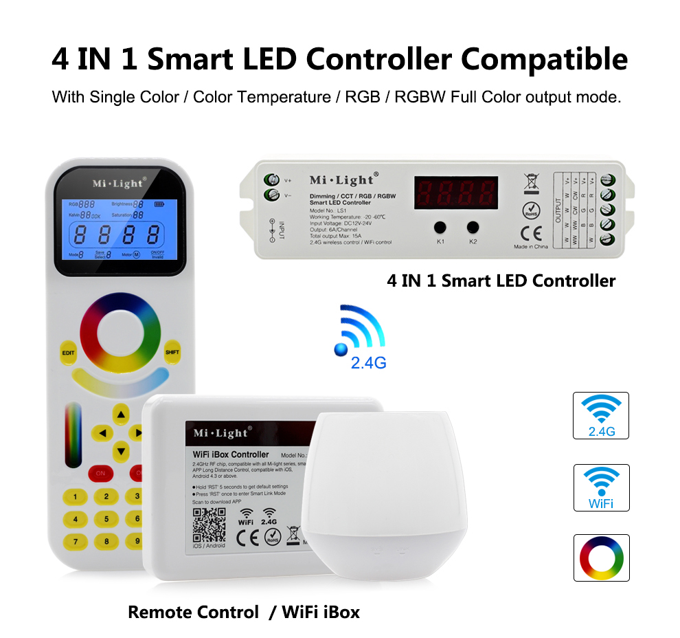 Mi Light 4 IN 1 Smart LED Controller Compatible with Single Color / Color  Temperature / RGB / RGBW Full Color output mode