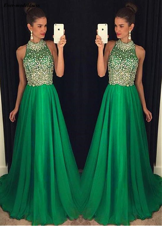 Green   Prom     Dresses   Long 2019 Crystal Beaded A-Line Sweep Train Tulle Wedding Formal Party Gowns Vestidos De Festa Plus Size