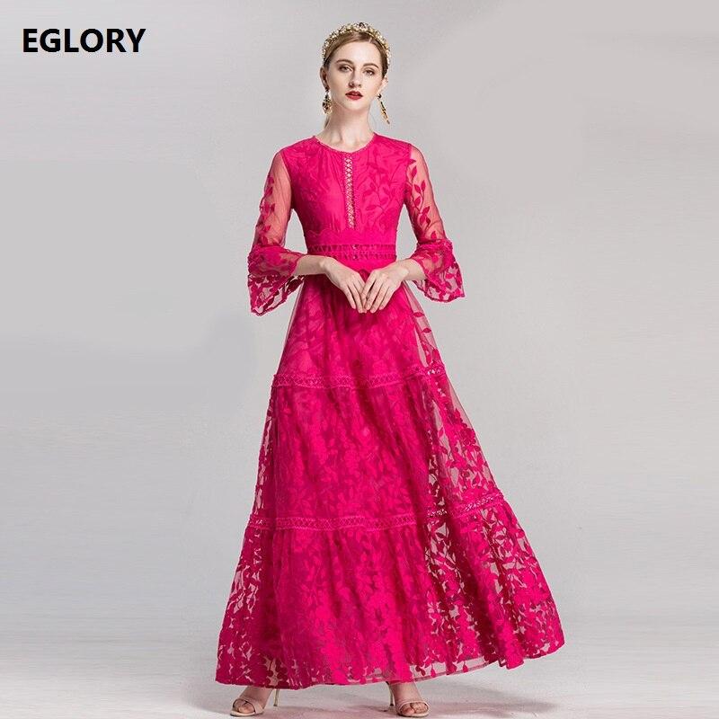 XXL grande taille nouveau 2018 printemps été longue robe pour soirée mariage femmes évider broderie Rose rouge blanc longue robe dame