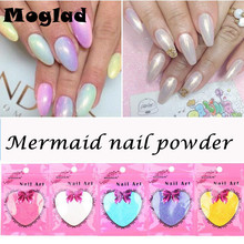 Moglad New 10g/bag Mermaid Mirror Effect Powder Nail Chrome Pigment Magic Dust Powder Laser Silver White Nails Decorations