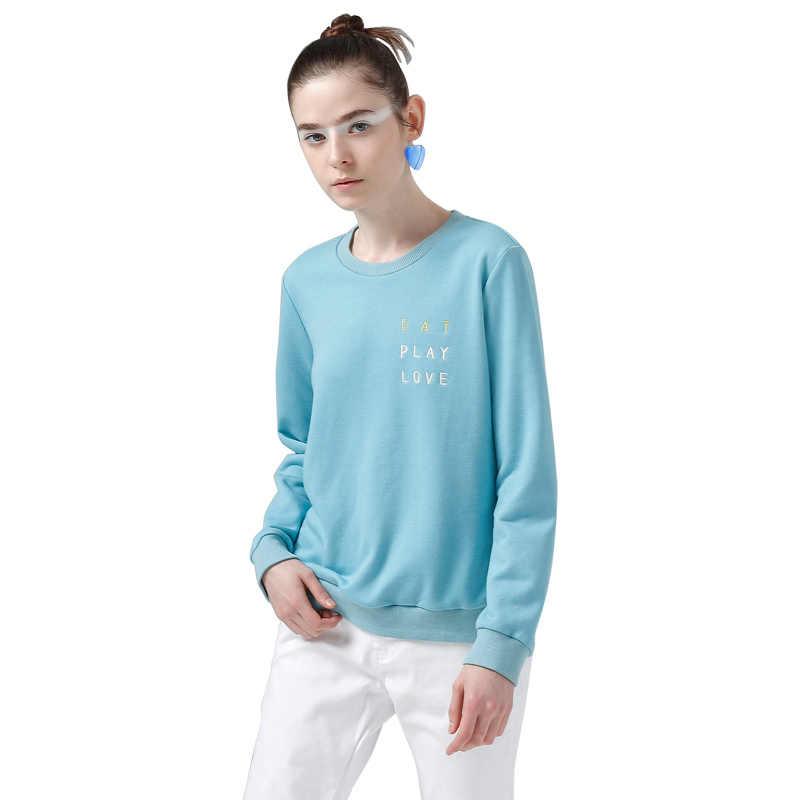 Toyouth לבן חולצות הסווטשרט נשים 2019 מכתב רקמה ארוך שרוול אימונית נשי בסיסיים מזדמנים חולצות