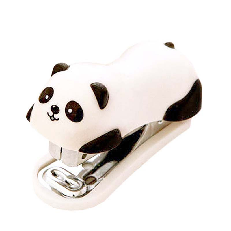 MINI Cute Panda Style Desktop Plastic Stapler With 1000 PCS Staples For Office School Home Travel And Best Cute Gift For Kids