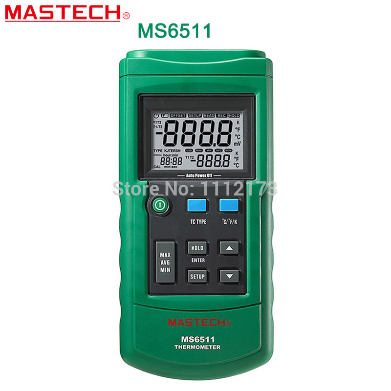 Free shipping MASTECH MS6511 Digital Thermometer Single Channel K, J, T, E Thermocouple Type Temperature Meter Tester With Box mastech ms2302 digital earth resistance tester meter 100 groups data logging with backlit 0ohm to 4k ohms free shipping