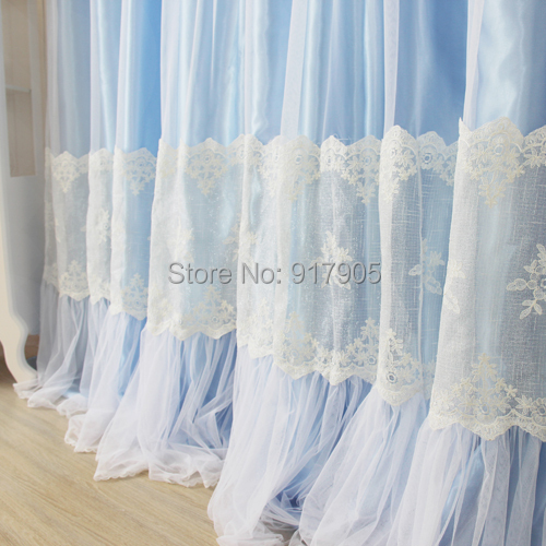 designer blue lace curtains modern girls home goods curtains elegant white lace princess bed room curtains fashion window shadesin curtains from home