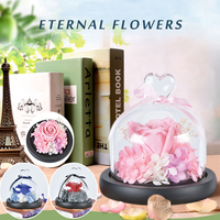 WR Eternal Flower In Heart Shaped Glass Cover Pink Immortal Rose Valentine S Day Gift Forever