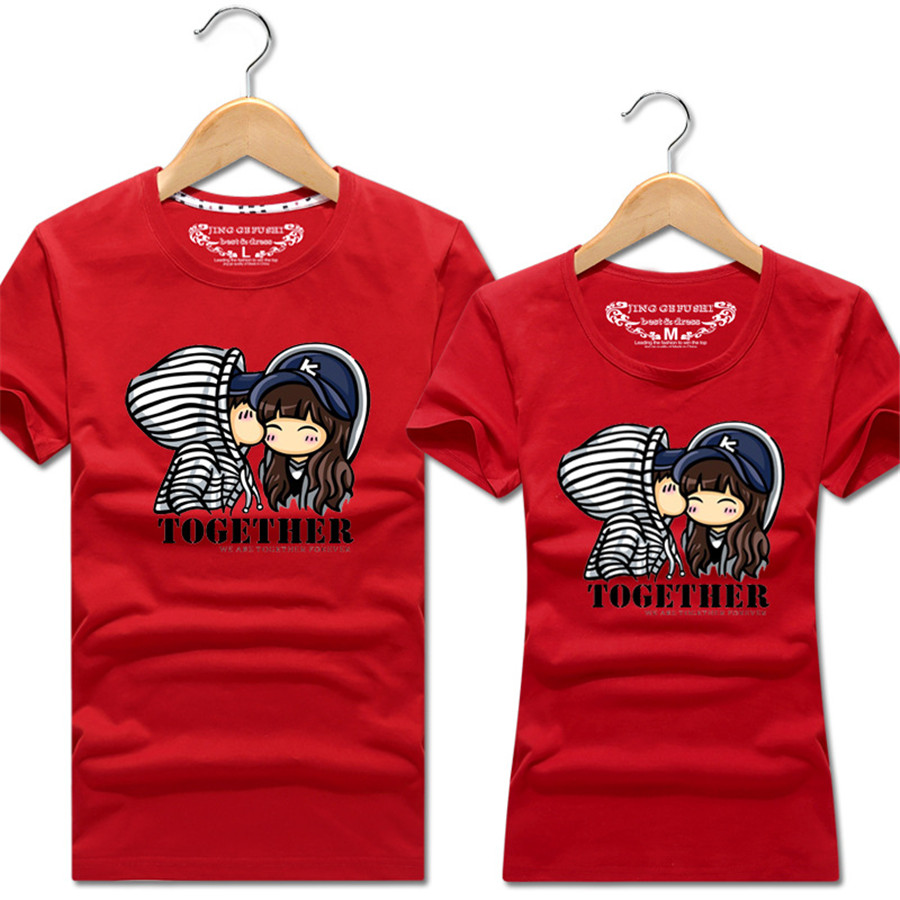26abe16d5f Summer Korean Fashion Matching Couple Clothes Cute Cartoon Sweet Tops Short  Sleeve Couple T Shirts For
