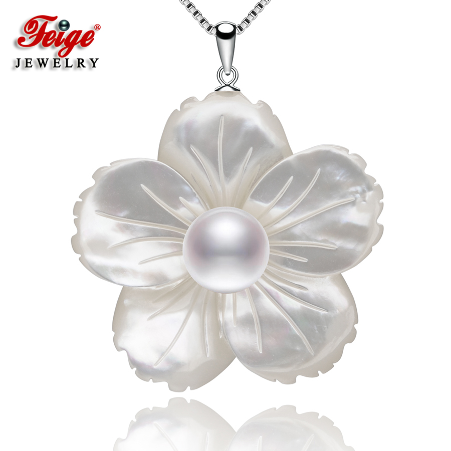 Exclusive design Shell carving White Pearl Necklaces & Pendants For Women's 925 Sterling Silver Chain Jewelry